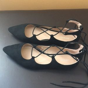 Express Lace Up Suede Flats